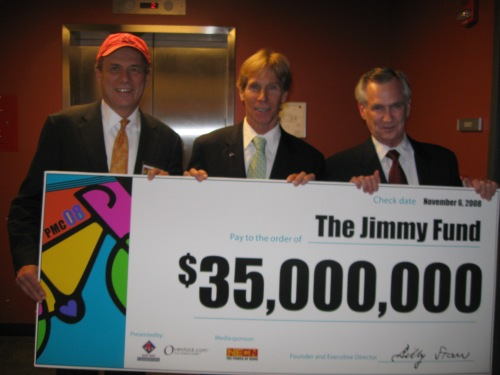Larry Lucchino of the Boston Red Sox, PMC Founder Billy Starr and DFCI President Dr. Edward Benz present the $35 million donation