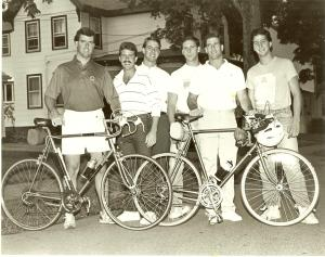 The McKeown brothers and two friends pose for a reporter from the local Norwood newspaper before the PMC. From left: Joe McKeown, Chris McKeown, Tim McKeown, Jim Bandanza, Jamie McKeown, and Danny Bandanza